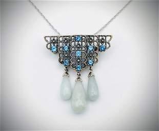 Necklace & Brooch-Pendant w Blue Topaz & Three Jade's