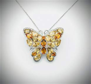 Necklace & Butterfly Pendant-Brooch w CZs, Yellow &