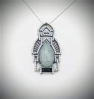 Necklace & Cocktail Pendant w Jade, CZs & Black
