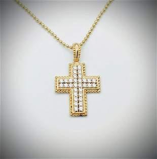 Necklace & Cross Pendant w Cubic Zirconia