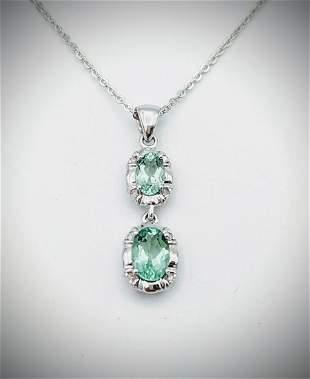Necklace & Double Drop Green Apatite Pendant w Diamonds