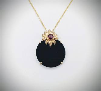 Necklace & Flower Pendant w Garnet & Black Onyx