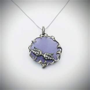 Necklace & Koifish Pendant w Violet Jade, Tourmaline &