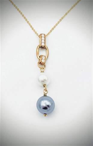 Necklace & Pearl Drop Pendant w Cubic Zirconia