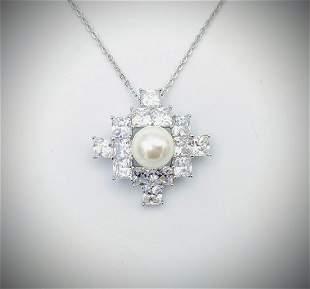 Necklace & Pearl w Diamond Quality Cubic Zirconia