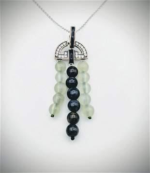 Necklace & Pendant w White & Grey Agate Beads w CZs &