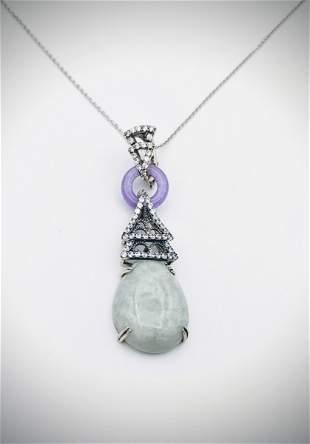 Necklace w Cocktail Drop Pendant w Jade, Violet Jade &