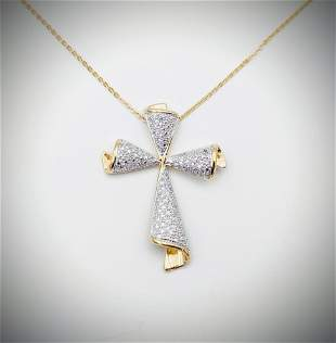 Necklace w Diamond Cross Pendant