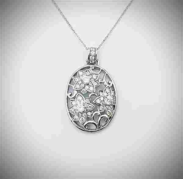 Necklace w Diamond Quality Cubic Zirconia Flower