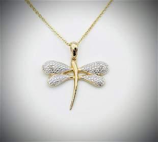 Necklace w Dragonfly Diamond Pendant