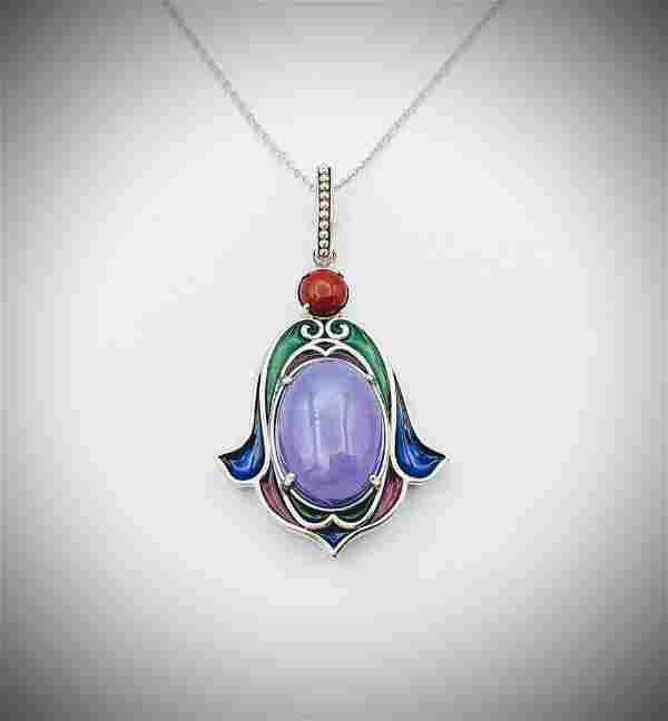Necklace w Jasper, Violet Jade and Green, Purple & Red