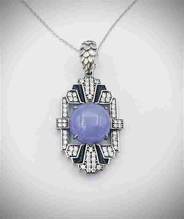 Necklace w Round Violet Jade, Cubic Zirconia & Black