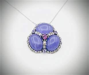 Necklace-Brooch-Pendant w Violet Jade, CZs, Pink &
