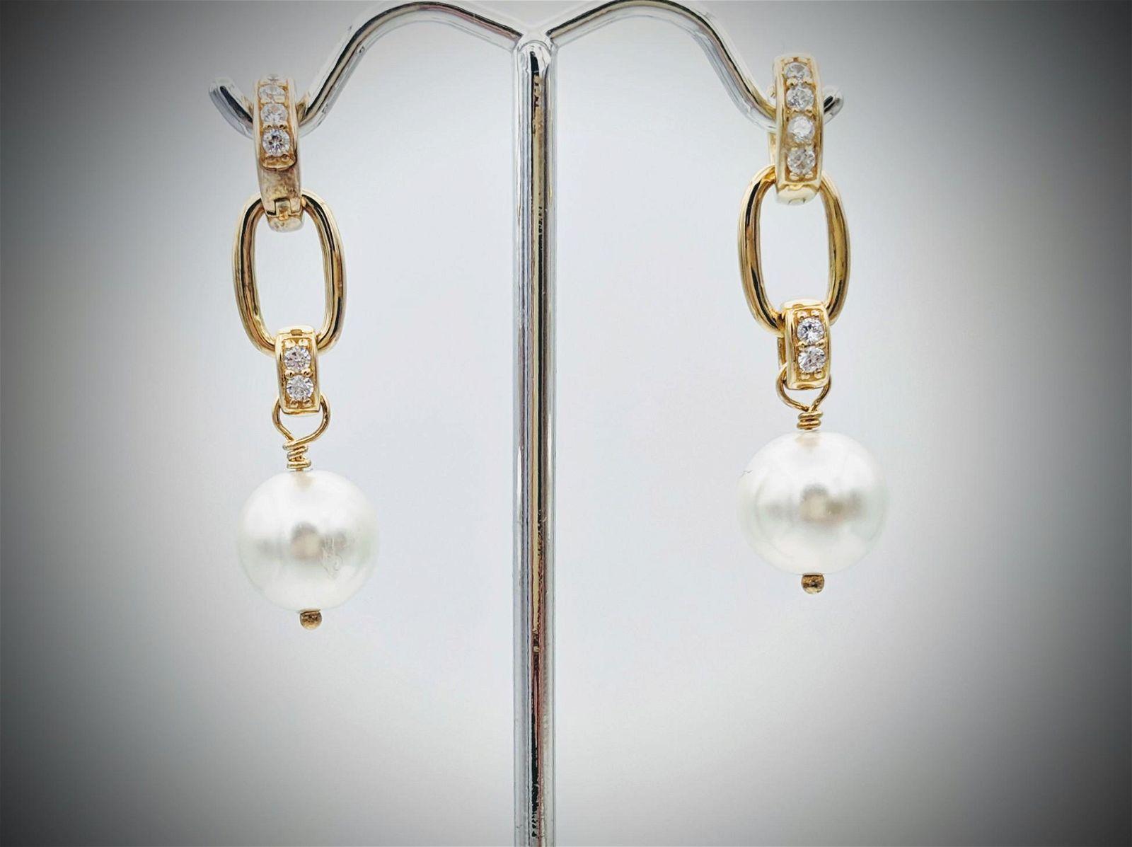 Pearl Drop Earrings w Cubic Zirconia