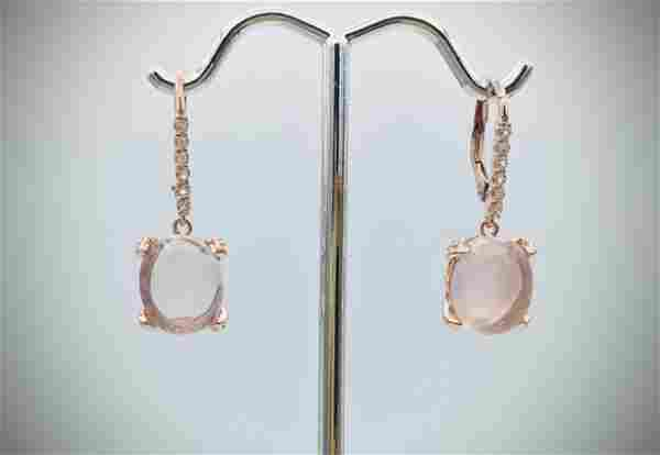 Rose Gold Plated Moonstone & Cubic Zirconia Earrings