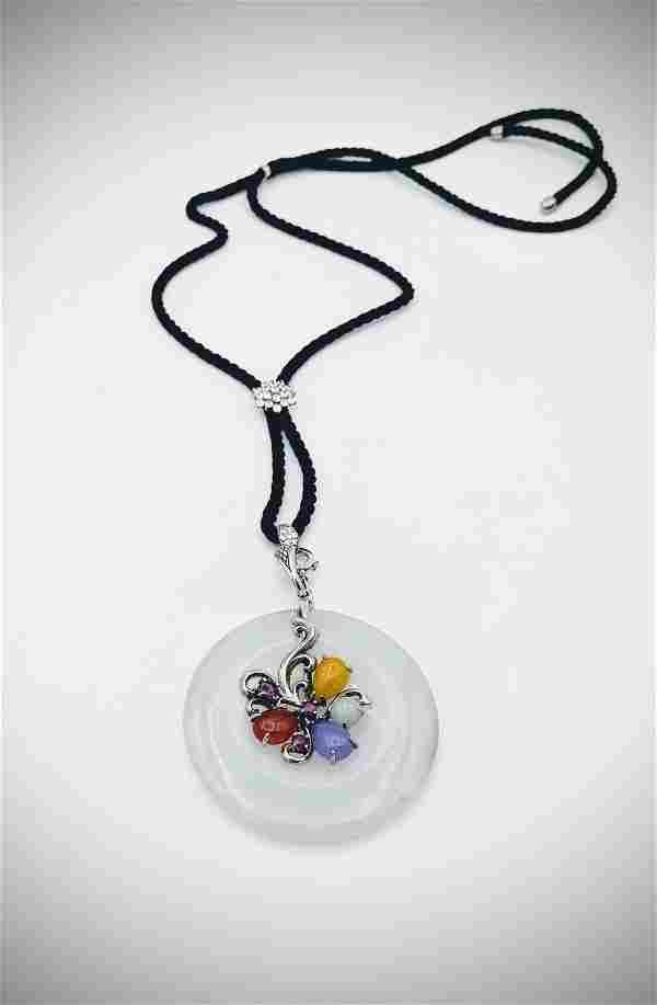 Silk Roped Necklace & White Jadeite Pendant