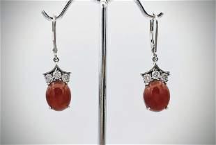 Sterling Silver Agate & Cubic Zirconia Earrings