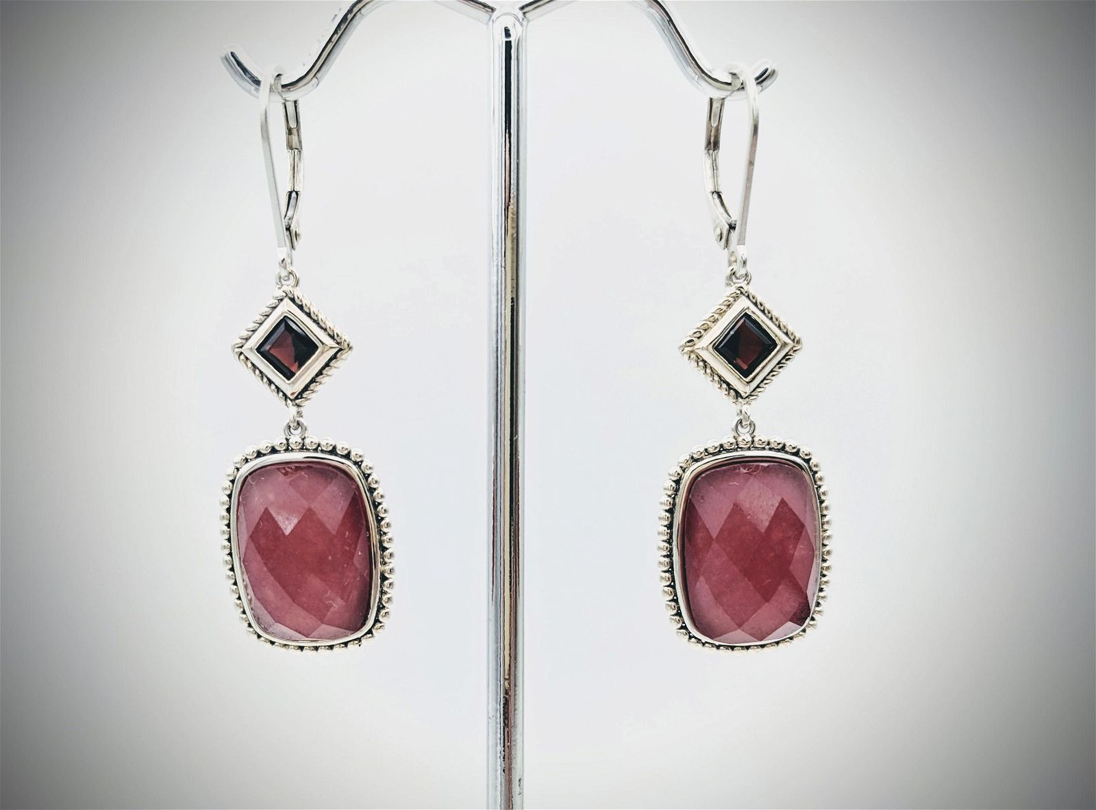 Sterling Silver Agate & Red Garnet Earrings