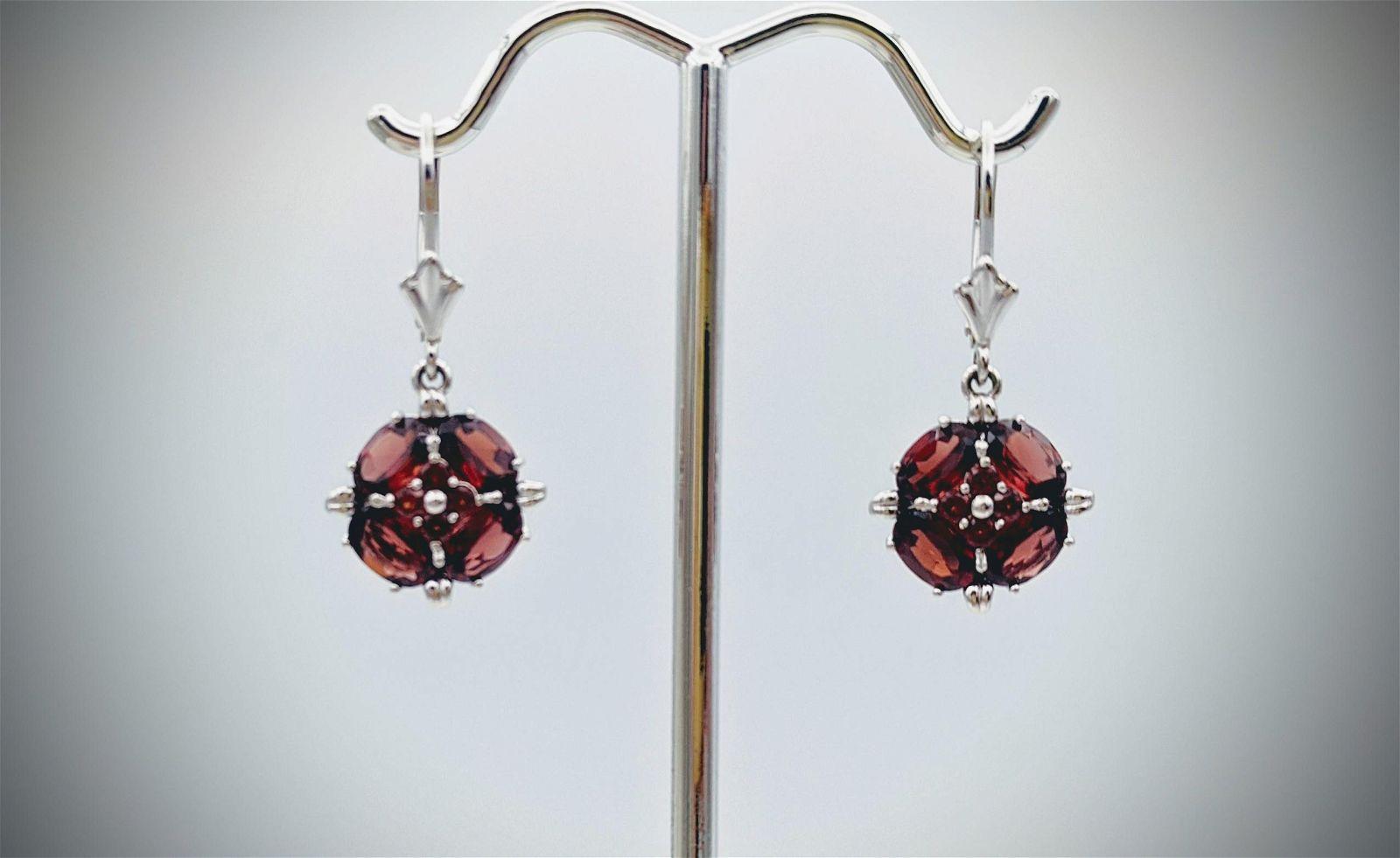 Sterling Silver Almandine Garnet Earrings