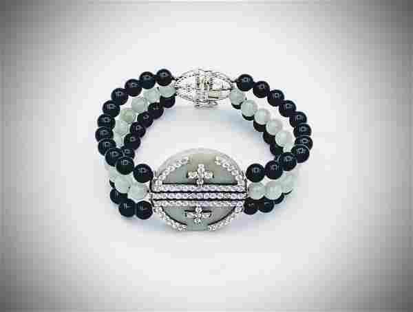 Sterling Silver Beaded Black Onyx & Jade Bracelet w CZs