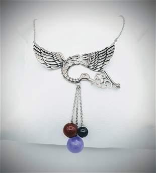 Sterling Silver Bird Necklace w Jasper, Nuumite &
