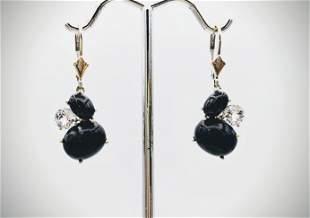 Sterling Silver Black Faceted Stones w CZ Earrings