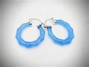 Sterling Silver Blue Jadeite Hoop Earrings