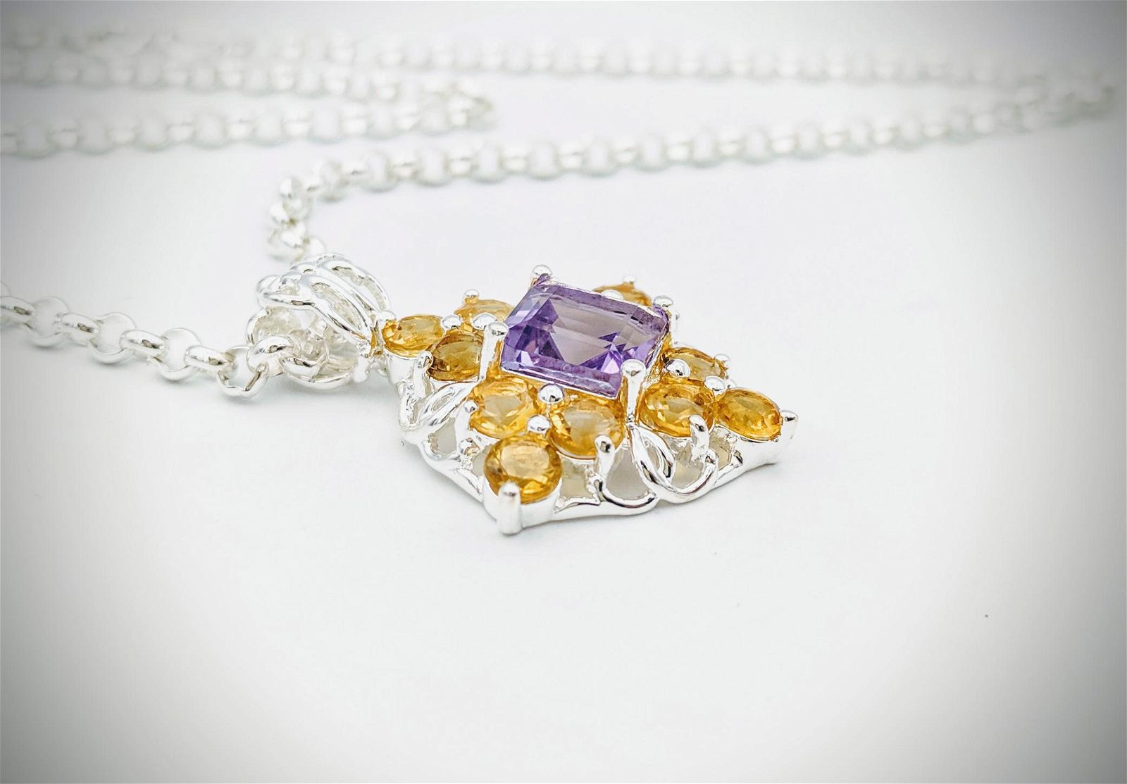 Sterling Silver Bolo Necklace w Amethyst & Citrine