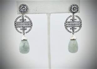 Sterling Silver Cocktail Earrings w Jade & Cubic