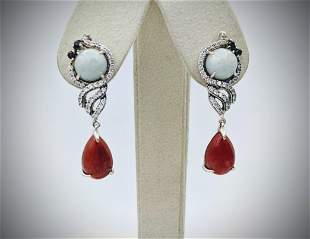 Sterling Silver Jasper, Jade, Garnet & CZ Earrings