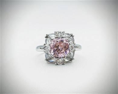 Sterling Silver Sz 7 Pink Amethyst & Cubic Zirconia