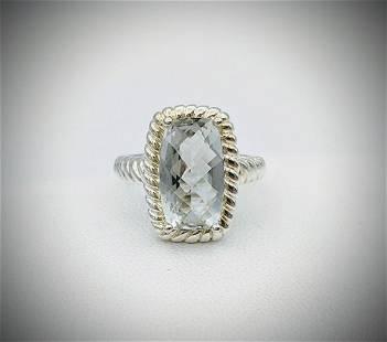 Sterling Silver Sz 7 Prasiolite Ring