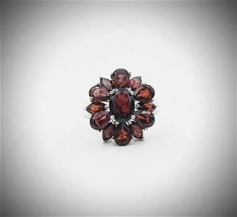 Sterling Silver Sz 7 Red Garnet Ring