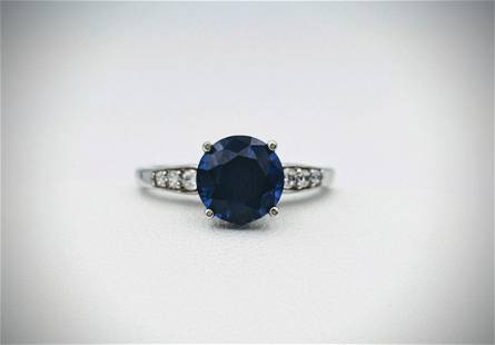 Sterling Silver Sz 7 Ring w Blue Sapphire & Cubic