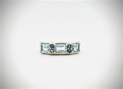 Sterling Silver Sz 7 Sky Blue & London Blue Topaz Ring