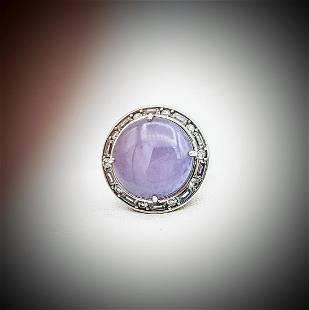 Sterling Silver Sz 7 Violet Jade & Cubic Zirconia Ring