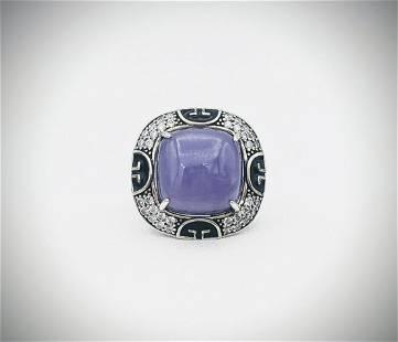 Sterling Silver Sz 7 Violet Jade, Cubic Zirconia &