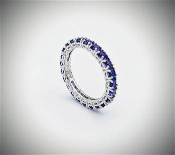 Sterling Silver Sz 8 Amethyst Eternity Ring