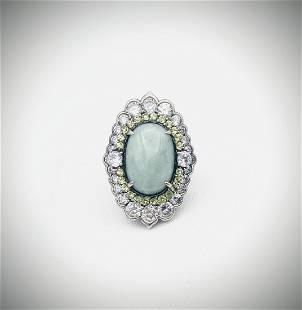 Sterling Silver Sz 8 Jade, Peridot & Cubic Zirconia