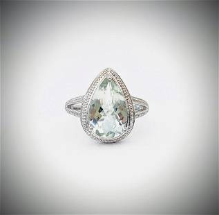 Sterling Silver Sz 8 Pale Green Amethyst Ring