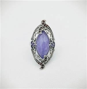 Sterling Silver Sz 8 Violet Jade Amethyst & Garnet Ring