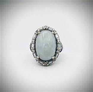 Sterling Silver Sz 9 Jade & Cubic Zirconia Ring