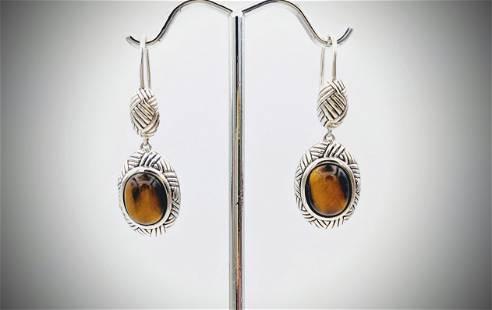 Sterling Silver Tiger's Eye Earrings