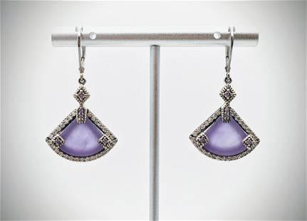 Sterling Silver Triangular Violet Jade Earrings w Pale