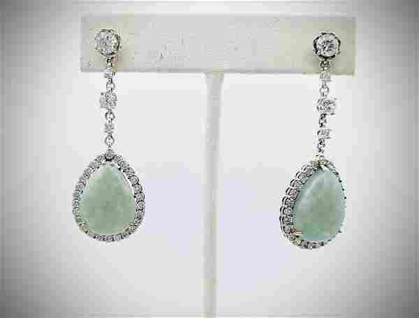 Sterling Silver Triple Drop Cubic Zirconia & Jade