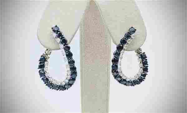 Sterling Silver Twisted Hoop Earrings w Black Diamonds