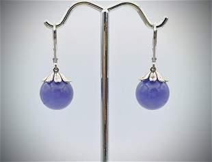 Sterling Silver Violet Jade Beaded Earrings