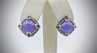 Sterling Silver Violet Jade, Garnet & Amethyst Earrings