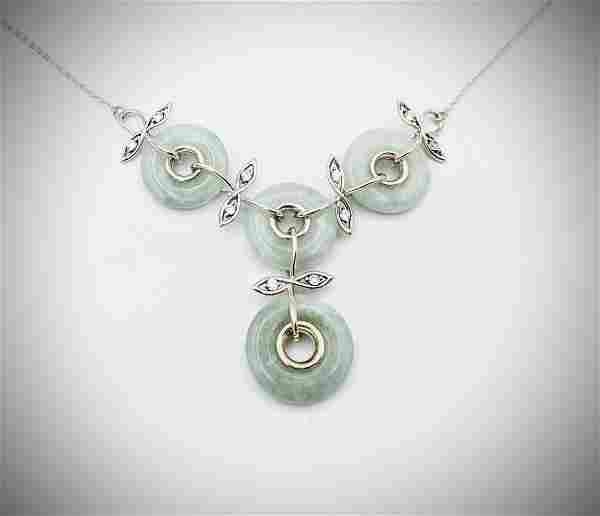 Sterling Silver Winged Necklace w Loops of Jade & CZs