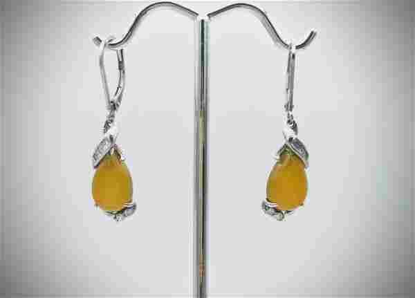 Sterling Silver Yellow Jadeite & Cubic Zirconia